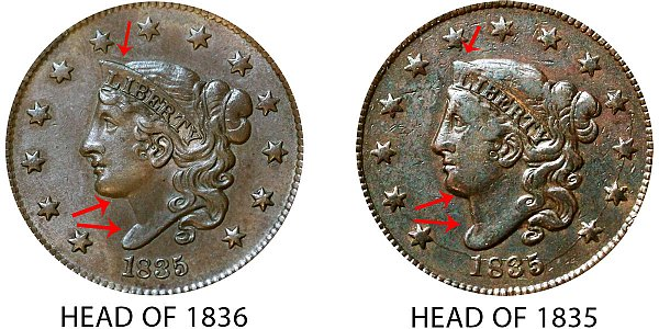 1835 Head of 1836 Coronet Head Large Cent - Difference and Comparison
