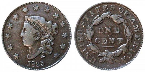 1835 Coronet Head Large Cent Penny - Large 8 - Large Stars