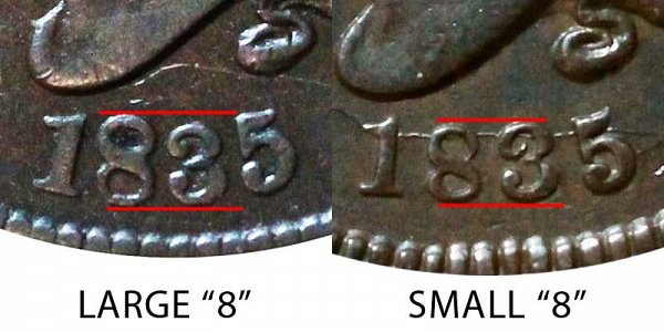 "1835 Large ""8"" vs Small ""8"" Coronet Head Large Cent - Difference and Comparison"