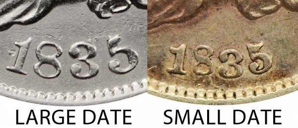 1835 Large Date vs Small Date Capped Bust Half Dime - Difference and Comparison