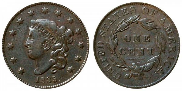 1835 Coronet Head Large Cent Penny - Small 8 - Small Stars