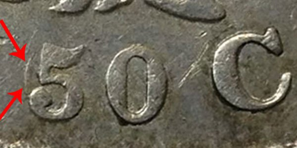 1836 50/00 Capped Bust Half Dollar - 50 Over 00 Denomination on Reverse