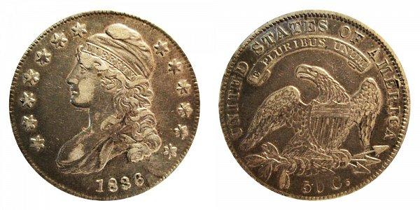 1836 Capped Bust Half Dollar - Beaded Border on Reverse