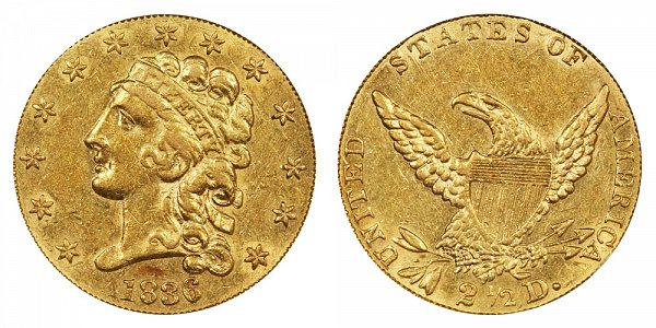 1836 Classic Head $2.50 Gold Quarter Eagle - 2 1/2 Dollars - Block 8