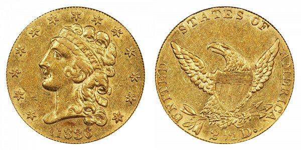 1836 Classic Head $2.50 Gold Quarter Eagle - 2 1/2 Dollars - Block 8