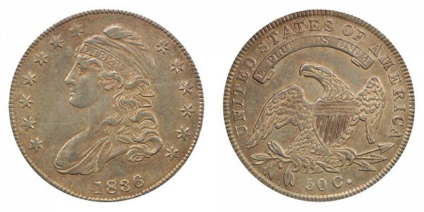 1836 Capped Bust Half Dollar - Lettered Edge - 50C on Reverse