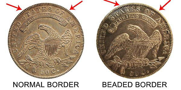 1836 Normal Border vs Beaded Border Capped Bust Half Dollar - Difference and Comparison