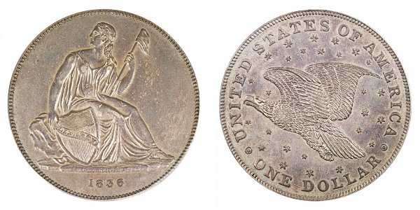 1836 Original Gobrecht Dollar - Die Alignment 2 - Stars on Reverse - Name On Base