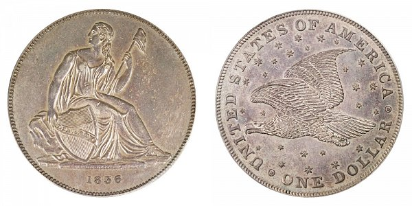 1836 Original Gobrecht Dollar - Die Alignment 4 - Stars on Reverse - Name On Base