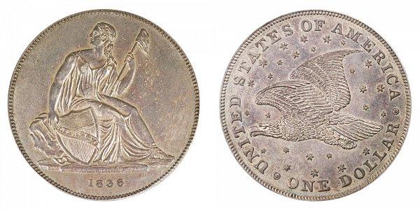 1836 Original Gobrecht Dollar - Die Alignment 4 - Stars on Reverse - Name On Base