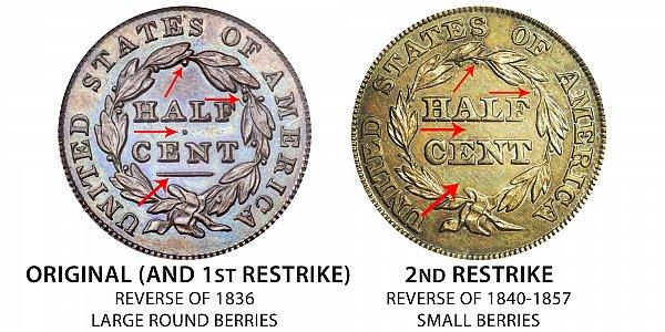 1836 Original vs Restrike Classic Head Half Cent - Difference and Comparison