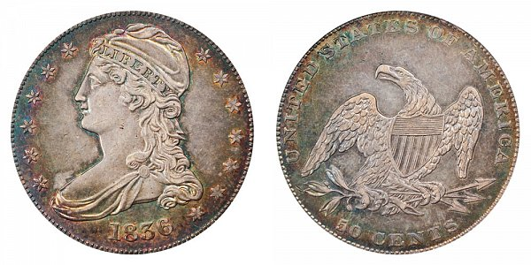 1836 Capped Bust Half Dollar - Reeded Edge - 50 CENTS on Reverse
