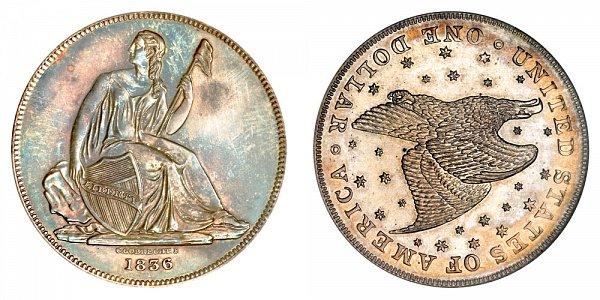 1836 Gobrecht Dollar Restrike - Die Alignment 3 - Starry Field - Name Below Base