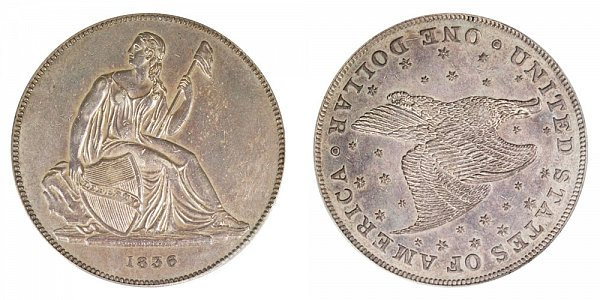 1836 Gobrecht Dollar Restrike - Die Alignment 3 - Stars on Reverse - Name On Base - Plain Edge