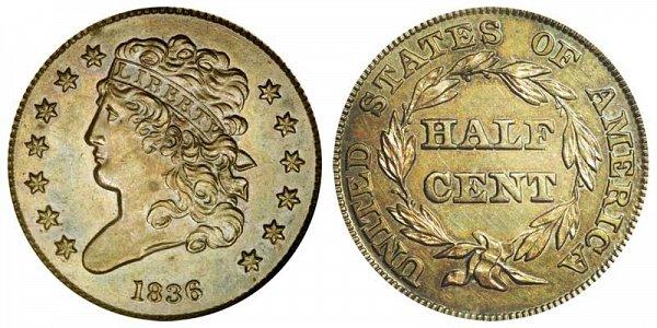 1836 Classic Head Half Cent Penny - Restrike Reverse of 1840