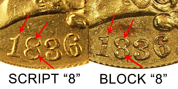 1836 Classic Head $2.50 Gold Quarter Eagle Varieties - Difference and Comparison