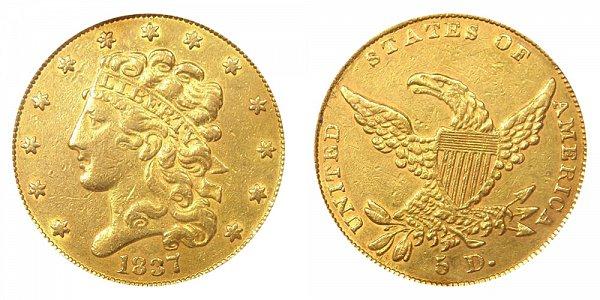 1837 Classic Head $5 Gold Half Eagle
