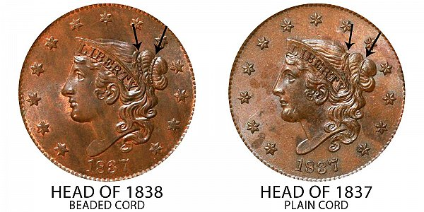 1837 Head of 1838 Coronet Head Large Cent - Plain Cords vs Beaded Cords