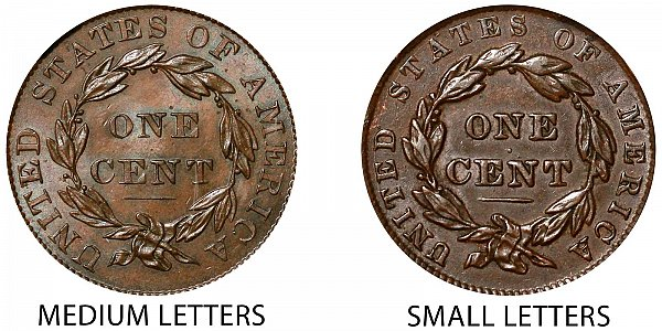 1837 Medium Letters vs Small Letters Coronet Head Large Cent - Difference and Comparison