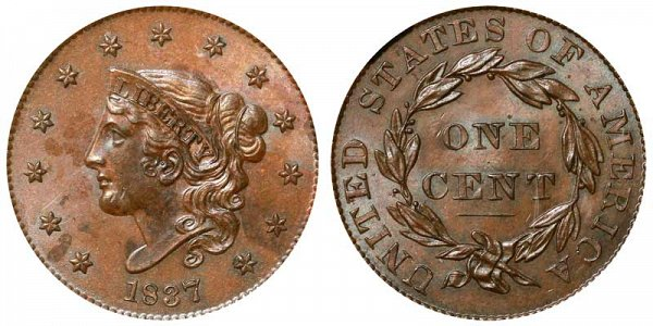 1837 Coronet Head Large Cent Penny - Plain Cord - Medium Letters