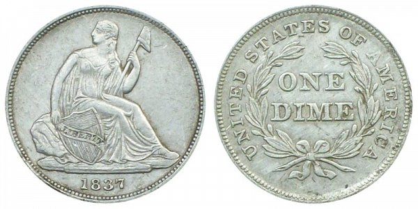 1837 Small Date Seated Liberty Dime - Type 1 No Stars