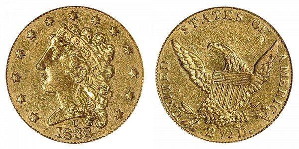 1838 C Classic Head $2.50 Gold Quarter Eagle - 2 1/2 Dollars