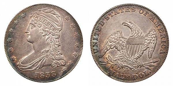 1838 Capped Bust Half Dollar Half Dol On Reverse Coin