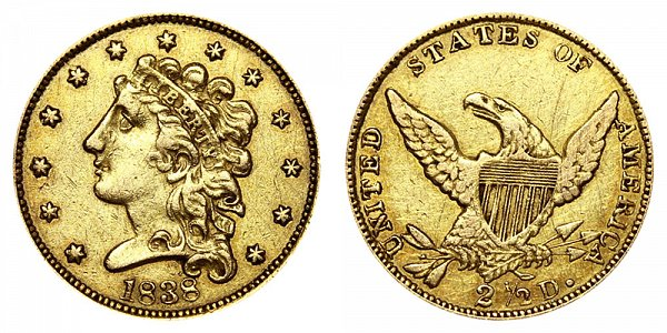 1838 Classic Head $2.50 Gold Quarter Eagle - 2 1/2 Dollars