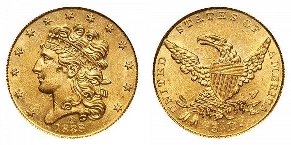 1838 D Classic Head $5 Gold Half Eagle