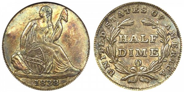 1838 O Seated Liberty Half Dime - No Stars