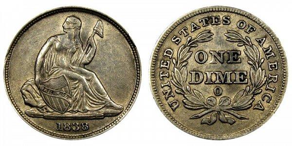 1838 O Seated Liberty Dime - Type 1 No Stars