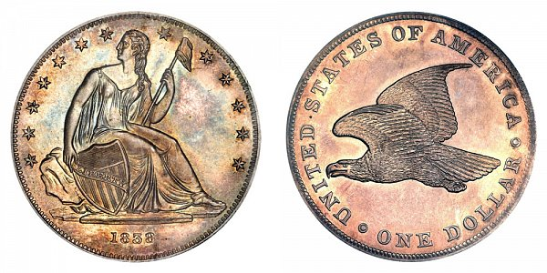 1838 Original Gobrecht Dollar - Die Alignment 4 - Plain Field - Name Omitted - Reeded Edge