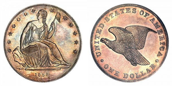1838 Restrike Gobrecht Dollar - Die Alignment 2 - Plain Field - Name Omitted - Reeded Edge