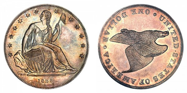 1838 Restrike Gobrecht Dollar - Die Alignment 3/4 - Plain Field - Name Omitted - Plain Edge