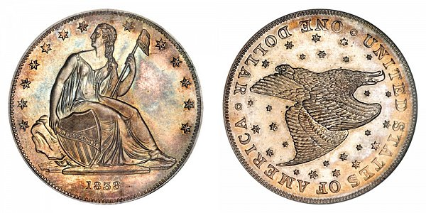 1838 Restrike Gobrecht Dollar - Die Alignment 3 - Starry Field - Name Omitted - Reeded Edge
