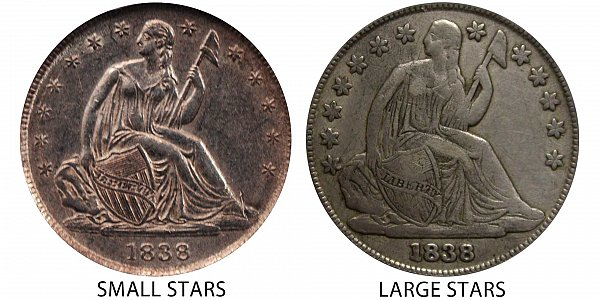 1838 Small Stars vs Large Stars Seated Liberty Dime - Difference and Comparison