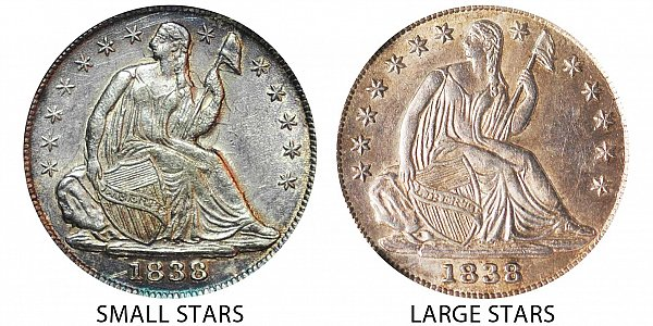 1838 Small Stars vs Large Stars Seated Liberty Half Dime - Difference and Comparison