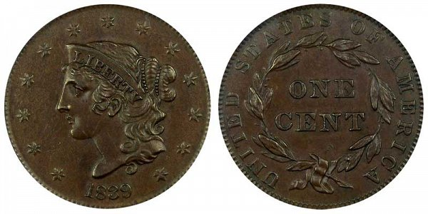 1839 Coronet Head Large Cent Penny - Booby Head