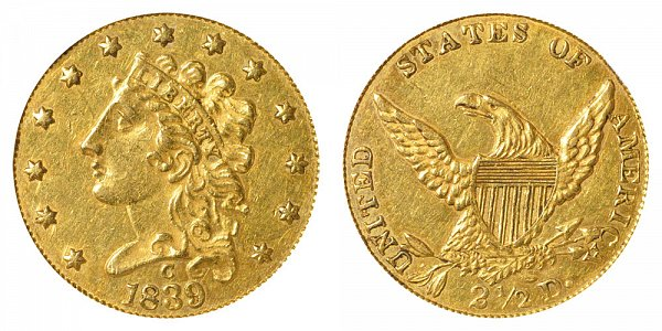 1839 C Classic Head $2.50 Gold Quarter Eagle - 2 1/2 Dollars