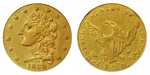 1839 D Classic Head $2.50 Gold Quarter Eagle - 2 1/2 Dollars