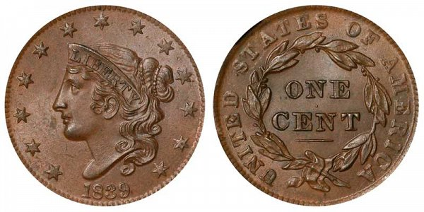 1839 Coronet Head Large Cent Penny - Head Of 1838