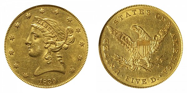 1839 Liberty Head $5 Gold Half Eagle - Five Dollars