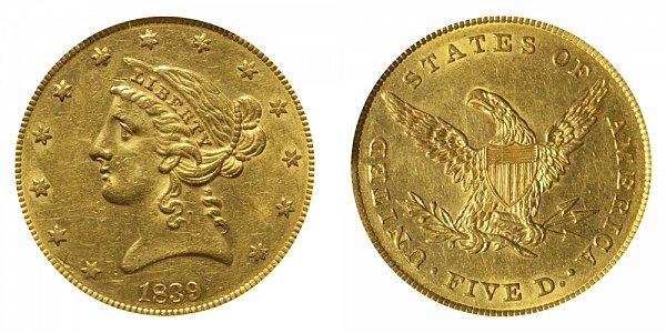 1839 Liberty Head $5 Gold Half Eagle - Five Dollars