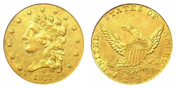 1839 O Classic Head $2.50 Gold Quarter Eagle - 2 1/2 Dollars