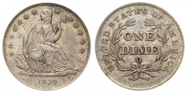 1839 O Reverse of 1838 O Seated Liberty Dime