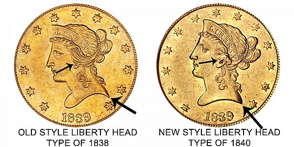 1839 Type of 1838 vs Type of 1840 Obverse - $10 Liberty Head Gold Eagle - Difference and Comparison