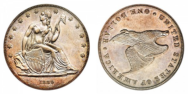 1839 Restrike Gobrecht Dollar - Die Alignment 3 - Plain Field - Name Omitted - Plain Edge
