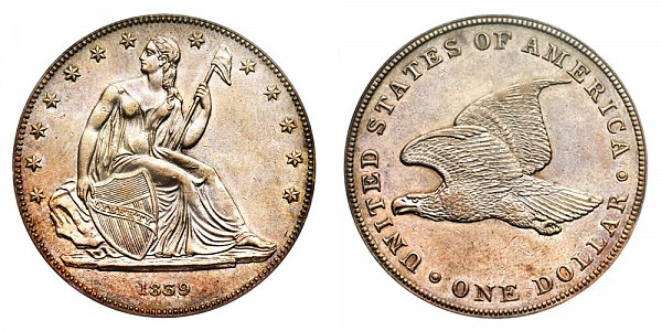 1839 Restrike Gobrecht Dollar - Die Alignment 4 - Plain Field - Name Omitted - Reeded Edge