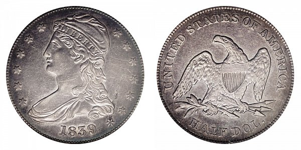 1839 Capped Bust Half Dollar - Small Letters