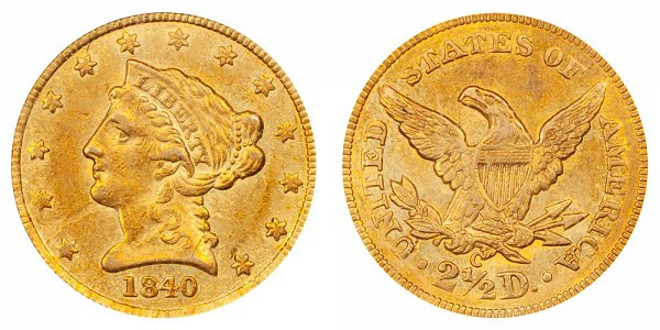 1840 C Liberty Head $2.50 Gold Quarter Eagle - 2 1/2 Dollars